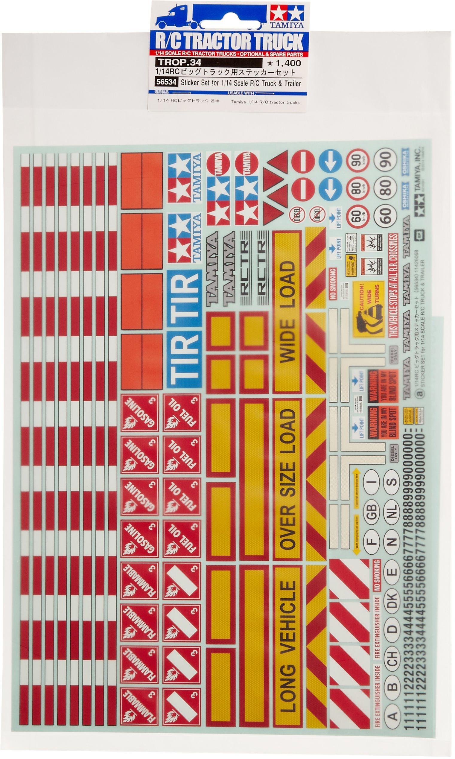 TAMIYA 300056534 1:14 dekoracja ostrzegawcza dla ciężarówek/przyczepy