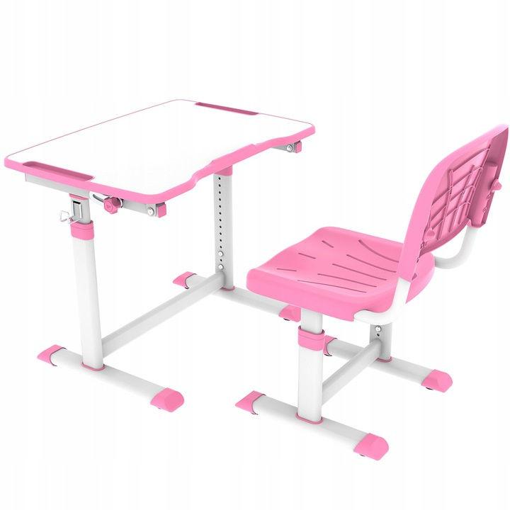 Regulowane biurko z krzesełkiem Olea Pink FunDesk