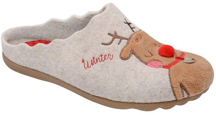 Kapcie MANITU 320568-8 Beige Beżowe Pantofle domowe Ciapy - Beżowy Brązowy
