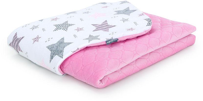 MAMO-TATO Kocyk dla dzieci i niemowląt 75x100 Velvet pikowany dwustronny Starmix różowy / róż