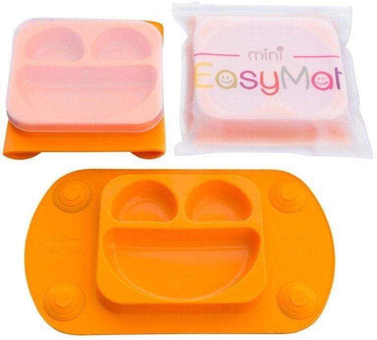 EASYTOTS - Easytots - Easymat Mini 2in1 Orange Silikonowy Talerzyk z Podkładką - Lunchbox