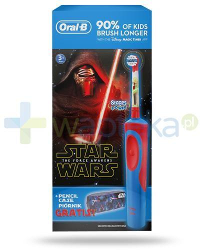 Oral-B Stages Kids Gwiezdne Wojny szczoteczka elektryczna dla dzieci 3+ 1 sztuka + piórnik [ZESTAW] + 2 końcówki
