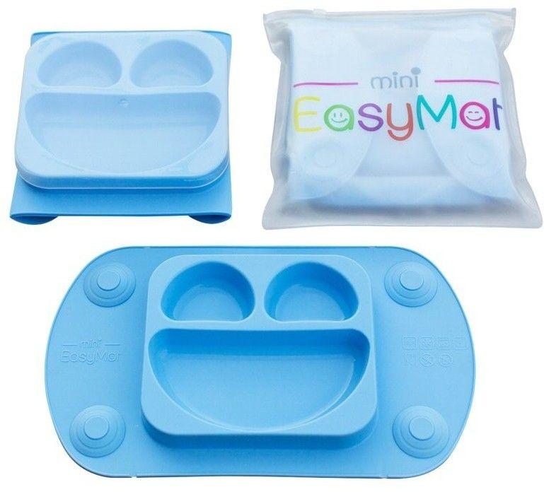 EASYTOTS - Easytots - Easymat Mini 2in1 Blue Silikonowy Talerzyk z Podkładką - Lunchbox