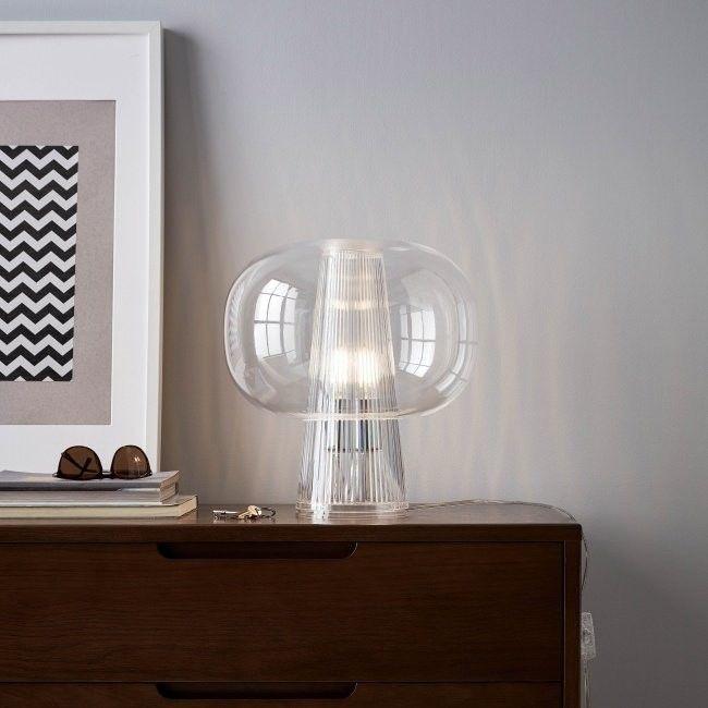 Lampa stołowa GoodHome Delmez 1-punktowa E27 transparentna