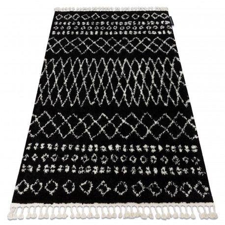 Dywan BERBER ETHNIC G3802 czarny / biały Frędzle berberyjski marokański shaggy 80x150 cm