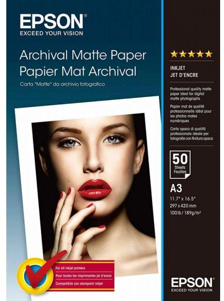 Papier A3 EPSON Archival Matte 189g (50 ark) (C13S041344)