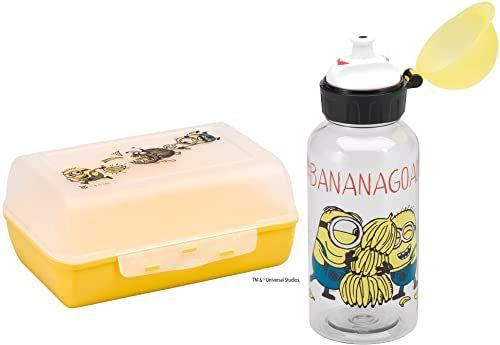 WMF Minions dziecięcy pojemnik na lunch z butelką, 2-częściowy, śniadaniówka dla dzieci z przegródkami, butelka z tritanu, idealny w podróży, bez BPA