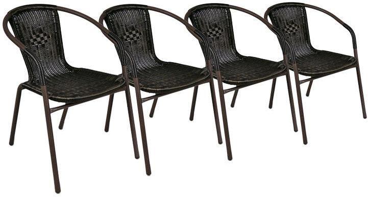 Komplet 4 x krzesła ogrodowe Garth rattanowe - czarne z brązową strukturą
