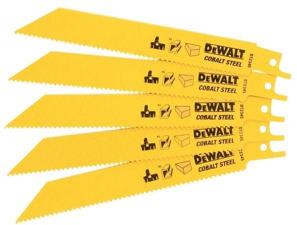 komplet 5 szt. brzeszczotów bagnetowych do drewna z gwoździami, PVC 10z, długość 152mm, DeWALT [DT2345]