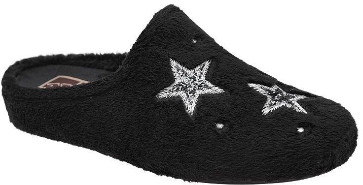 Kapcie MANITU 320576-1 Czarne Pantofle domowe Ciapy - Czarny