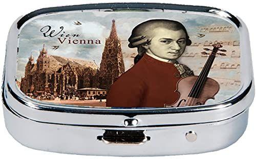 Fridolin pojemnik na tabletki Wiedeński Mozart & Stephansdom z metalu, kolorowy, 5,1 x 3,6 x 1,8 cm