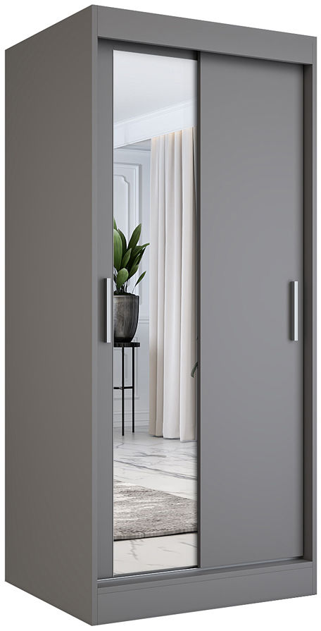 Antracytowa szafa przesuwna z lustrem - Lenora 2X