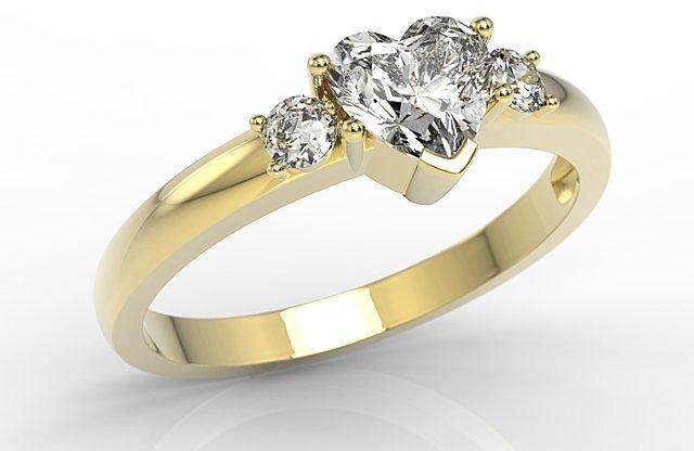 Pierścionek z żółtego złota z białym topazem w kształcie serca i cyrkoniami jp-90z-c