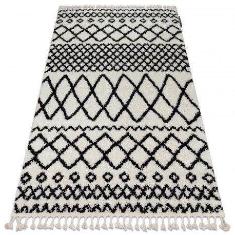 Dywan BERBER SAFI N9040 biały / czarny Frędzle berberyjski marokański shaggy 80x150 cm