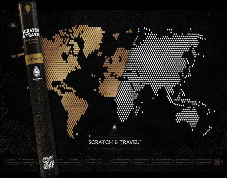 Mapa zdrapka. Loft black