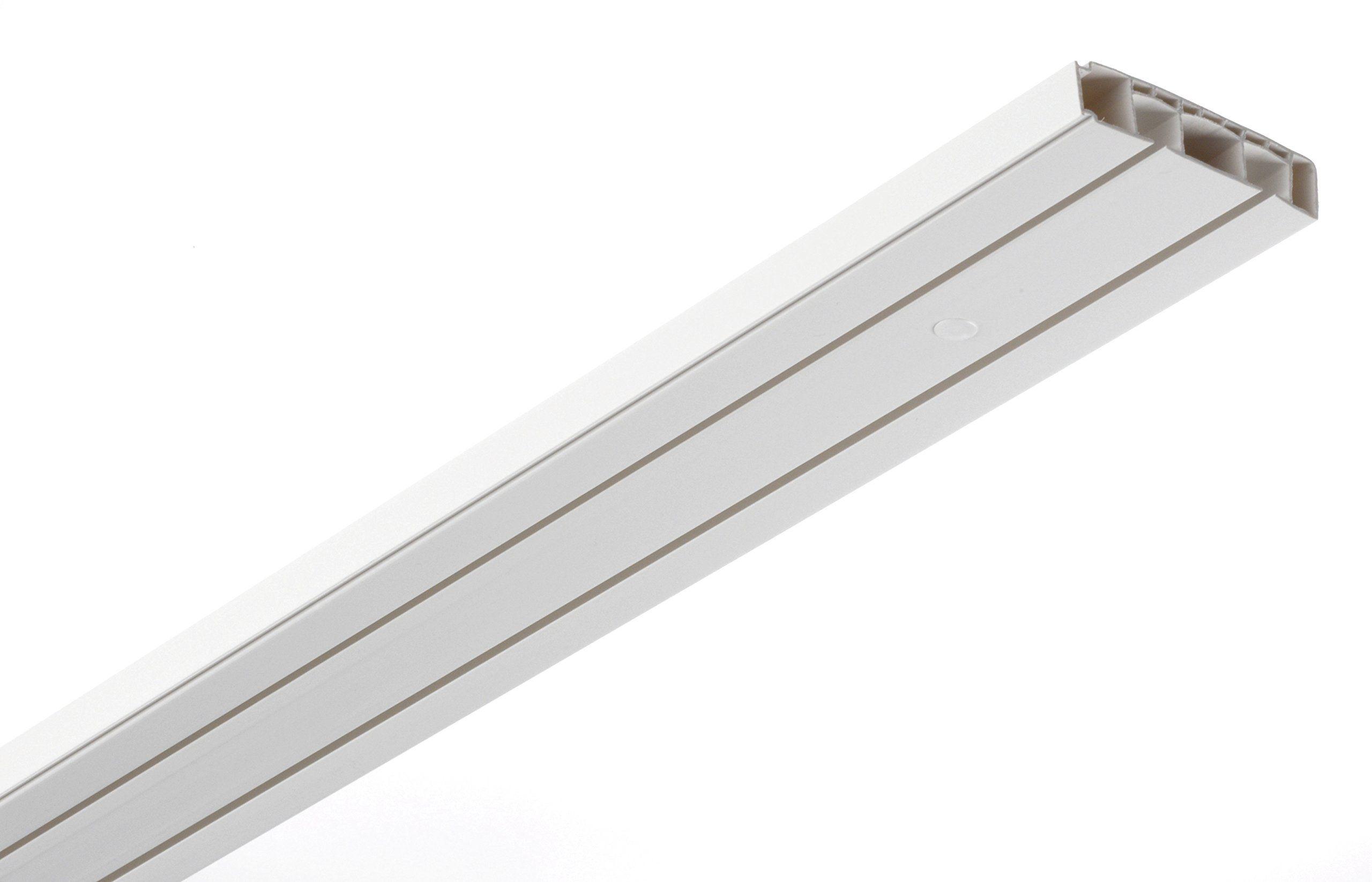 GARDINIA Zestaw karniszy, kompletny zestaw z podwójną szyną, wraz z okuciami montażowymi, 120 cm, biały