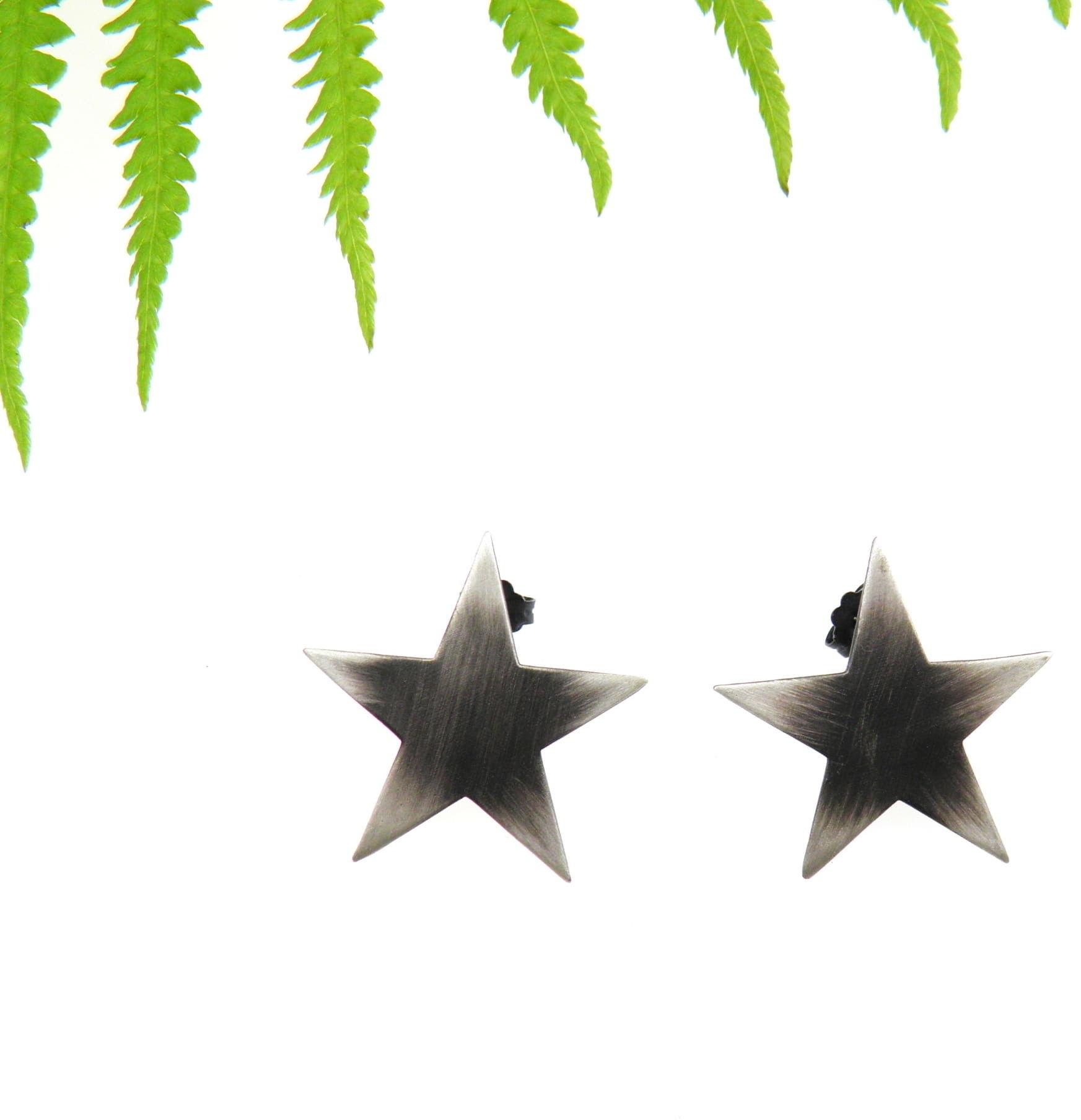 Venus Galeria Gwiazdy duże szare na sztyftach - kolczyki srebrne