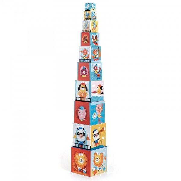 Djeco - Piramida Wieża Układanka z Kostek PLAŻA DJ08509