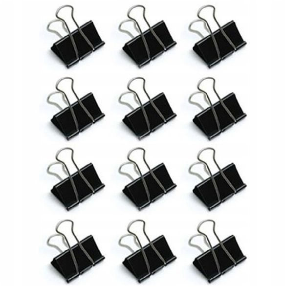 Klipsy biurowe spinacze czarne 12 sztuk KAT06937
