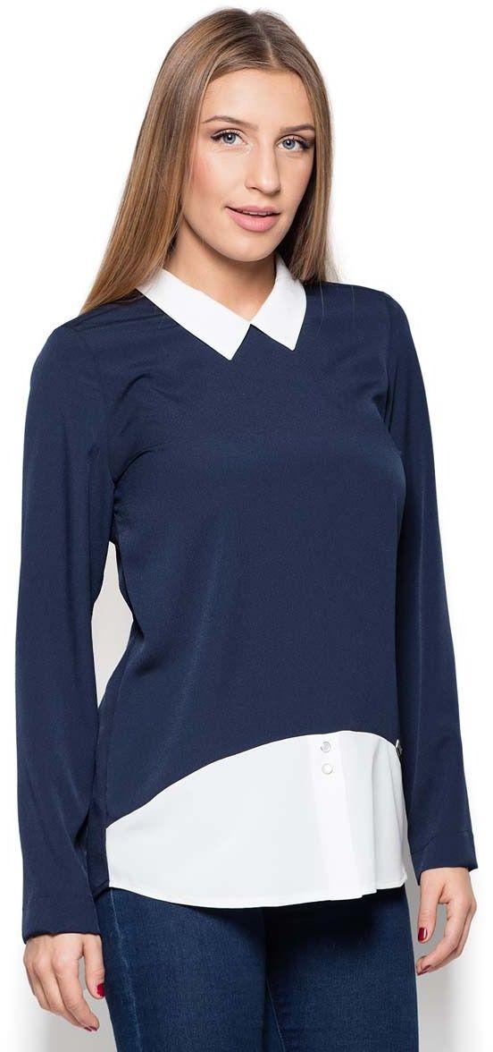 Niebieska stylowa kobieca bluzka 2 w 1