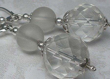 Piękne Kolczyki Naturalny Kryształ Górski