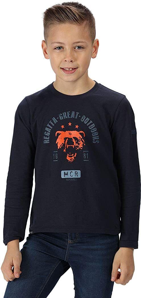 Regatta ''Wendell'' bawełniana koszulka z nadrukiem graficznym z długim rękawem koszulka polo / kamizelki, granatowy niedźwiedź, 5-6