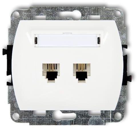 Mechanizm gniazda telefonicznego podwójnego TREND biały GT-2