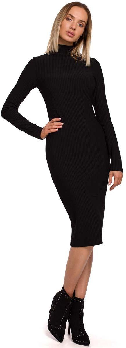 Czarna ołówkowa sukienka z półgolfem