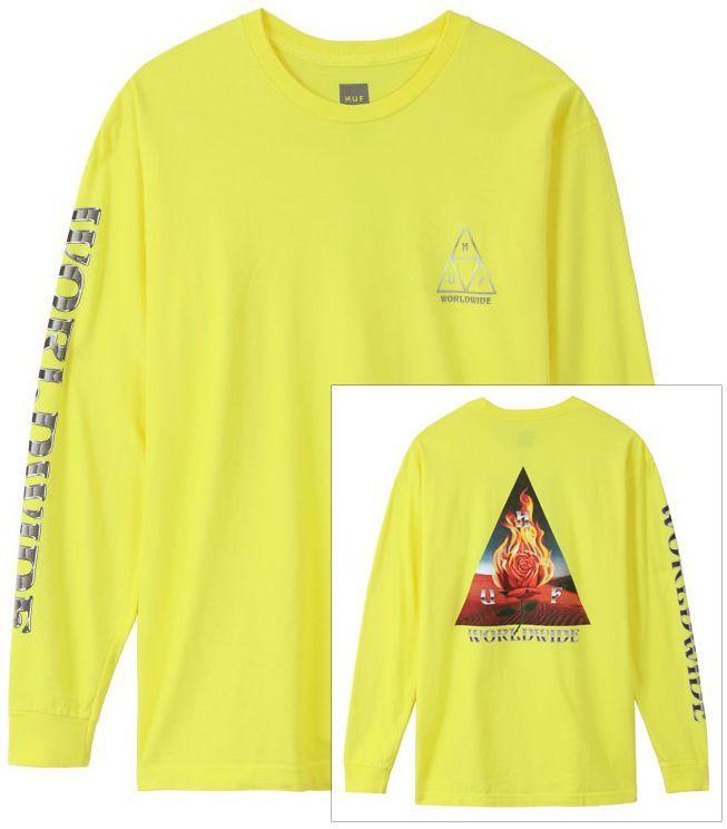 t-shirt męski HUF EMBER ROSE TRIPLE TRIANGLE LS TEE Blazing Yellow