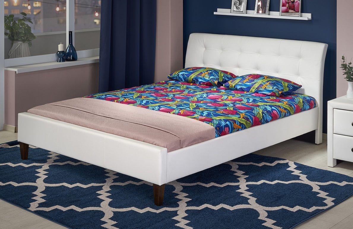 Łóżko tapicerowane ROCO 160 biały ekoskóra
