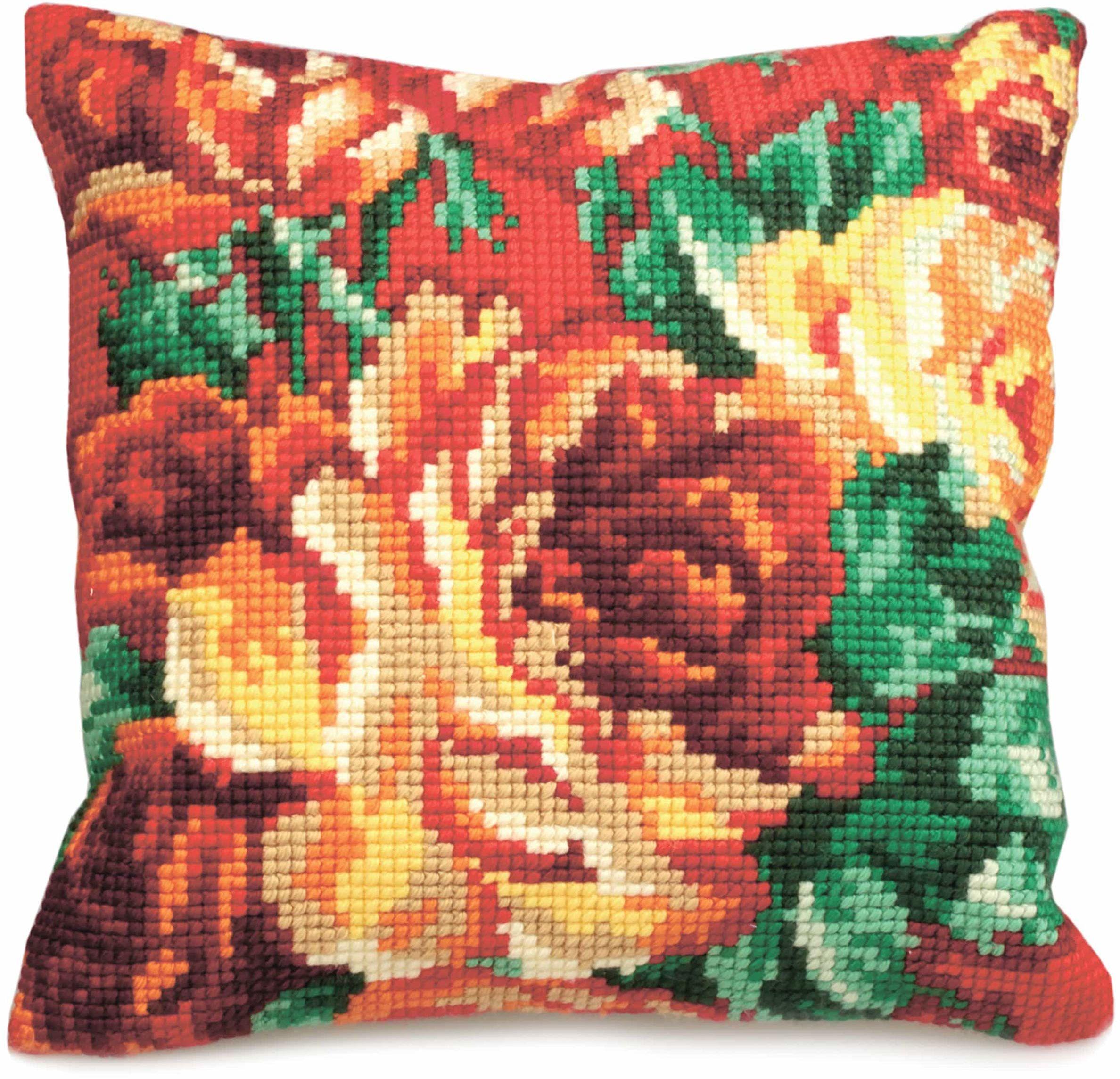 Kolekcja artystyczna poduszka z haftem krzyżykowym: Kapusta róża (po lewej)