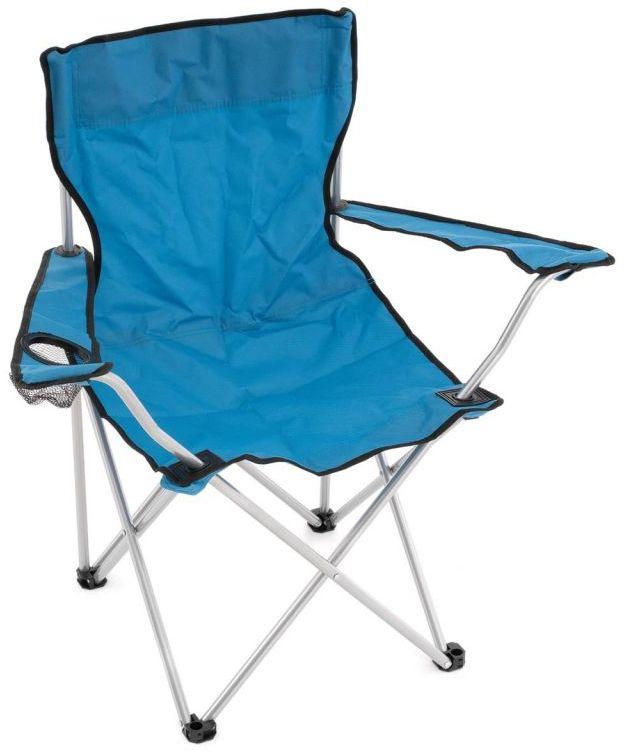 Składane krzesło z uchwytem na kubek - niebieski