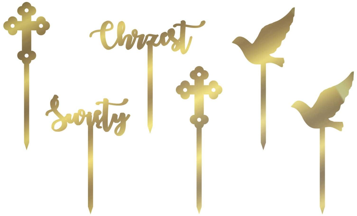 Dekoracje z lustrzanej pleksi złotej do muffinek Chrzest Święty - 6 szt.