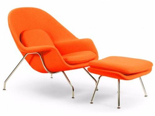 Fotel z podnóżkiem Wełna Naturalna Inspirowany Projektem Womb Chair