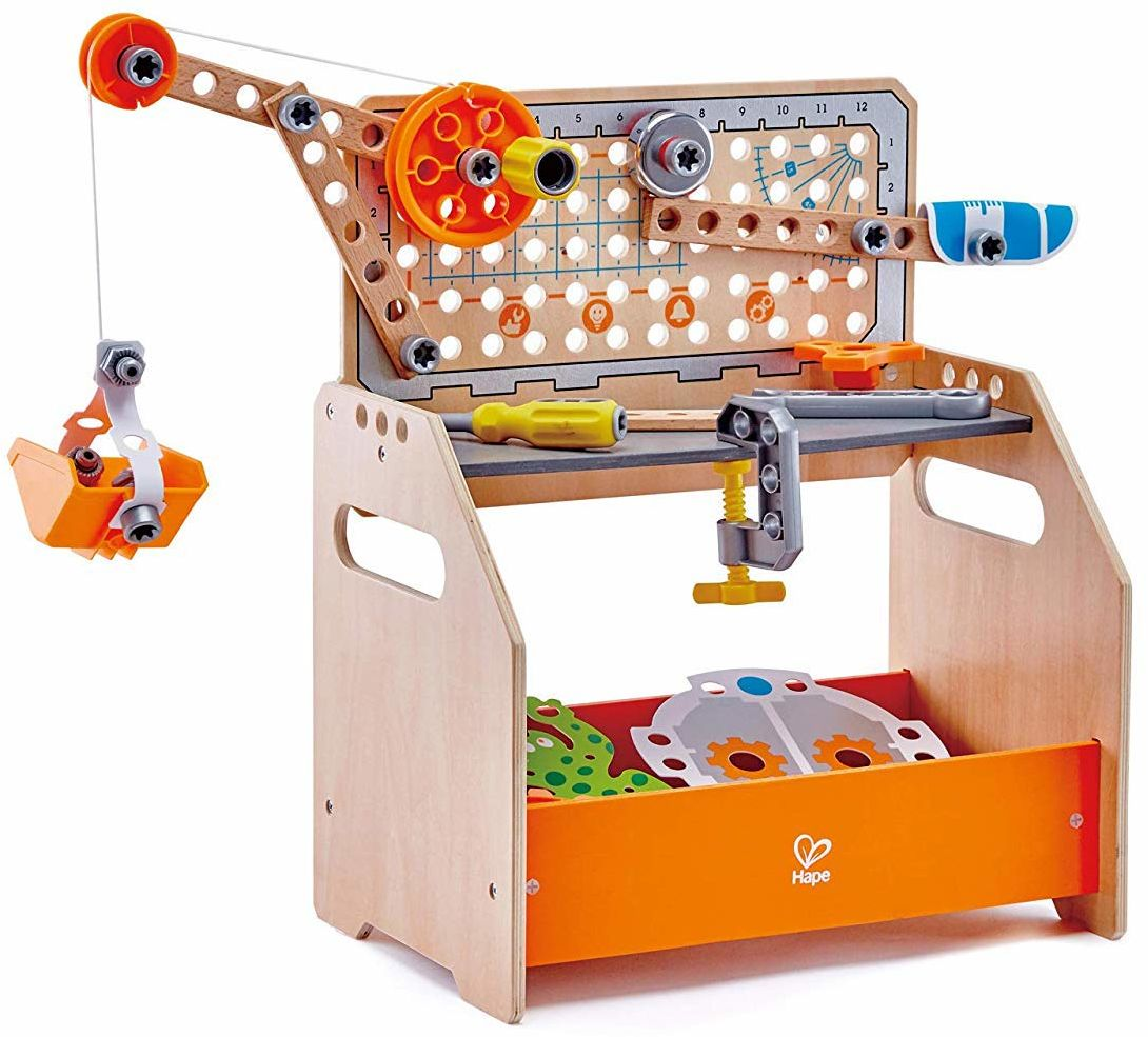 Hape E3028 Junior Inventor Discovery Naukowy stół warsztatowy, przenośny drewniany stół warsztatowy - 10 eksperymentów