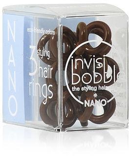 Invisi Bobble Nano Pretzel Brown Brązowe gumki do włosów 3 szt.