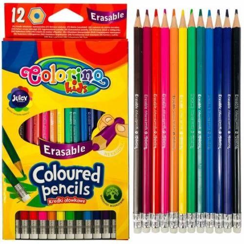 Kredki ołówkowe heksagonalne wymazywalne z gumką 12 kol. Colorino Kids