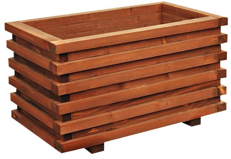 Donica ogrodowa 59 x 34 cm drewniana brązowa WIEN/VITRUM WERTH-HOLZ