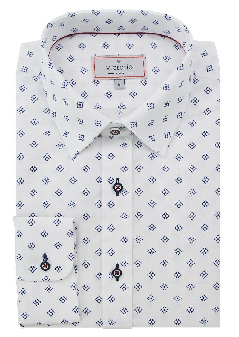 Biała Koszula Męska z Długim Rękawem, VICTORIO, Taliowana, Granatowy Wzór KSDWVCTO0353