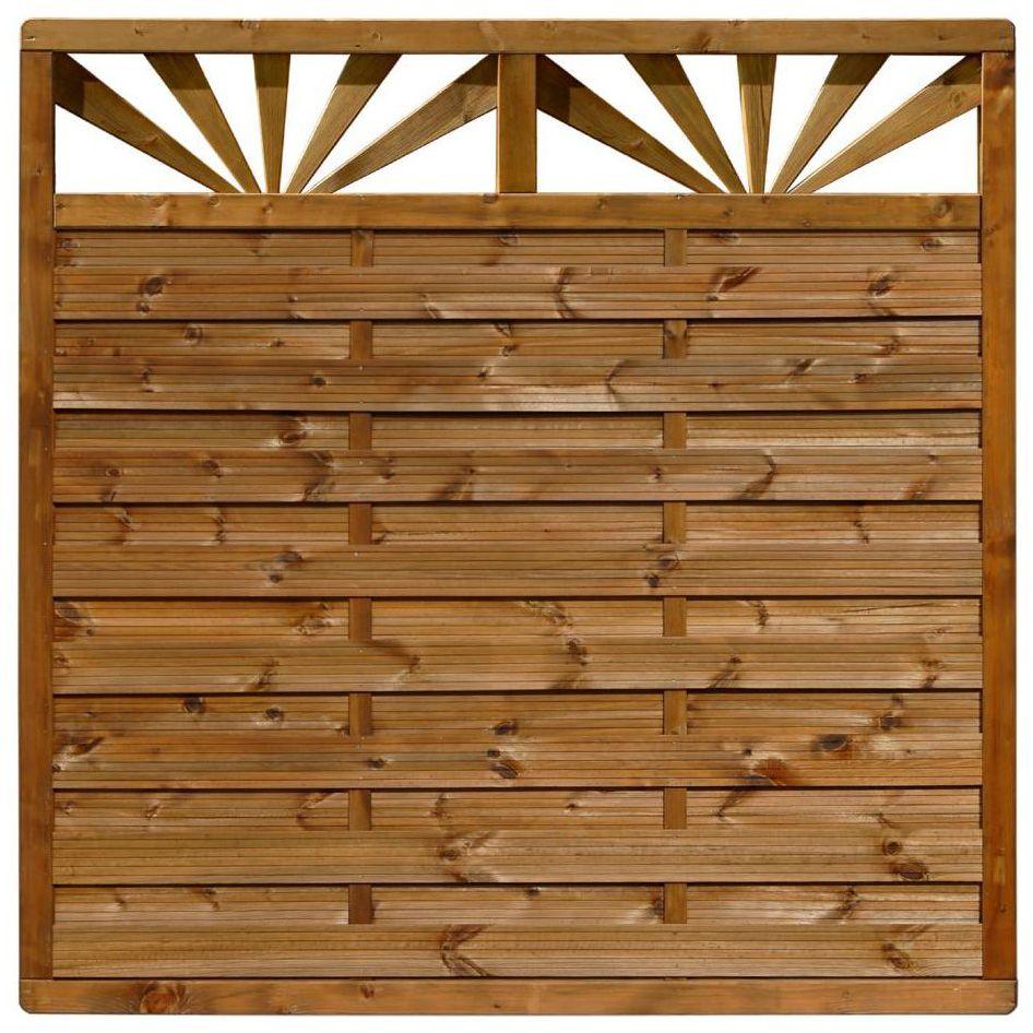 Płot szczelny z dekorem 180x180 cm drewniany SUNRISE WERTH-HOLZ