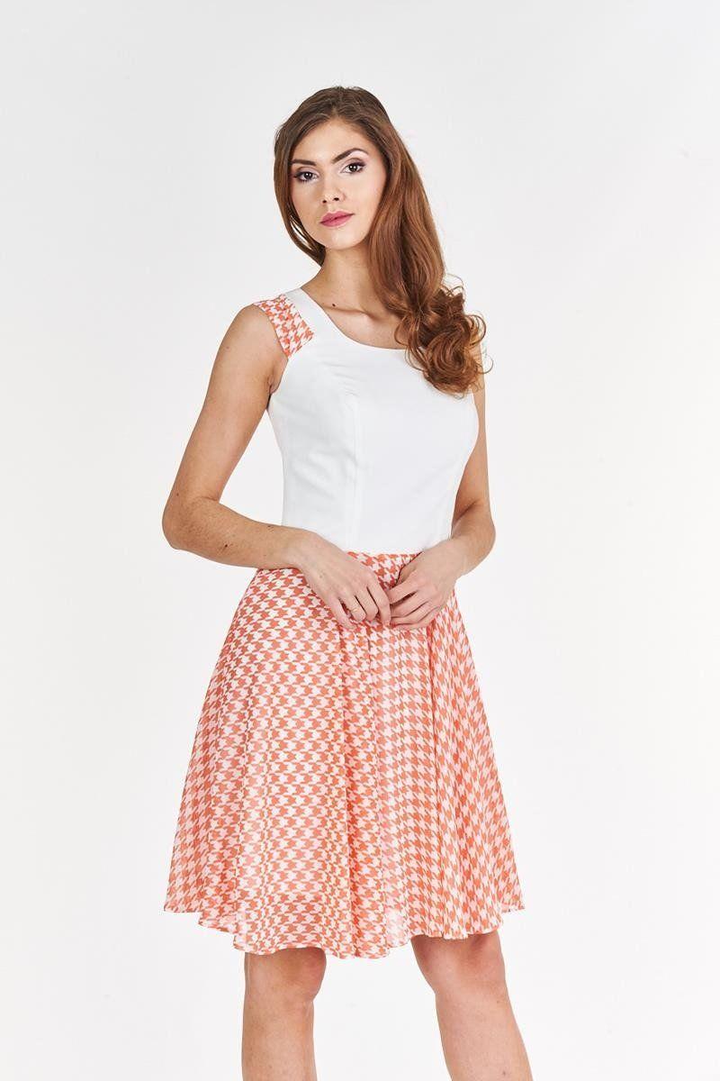 Sukienka FSU357 EKRI KORALOWY
