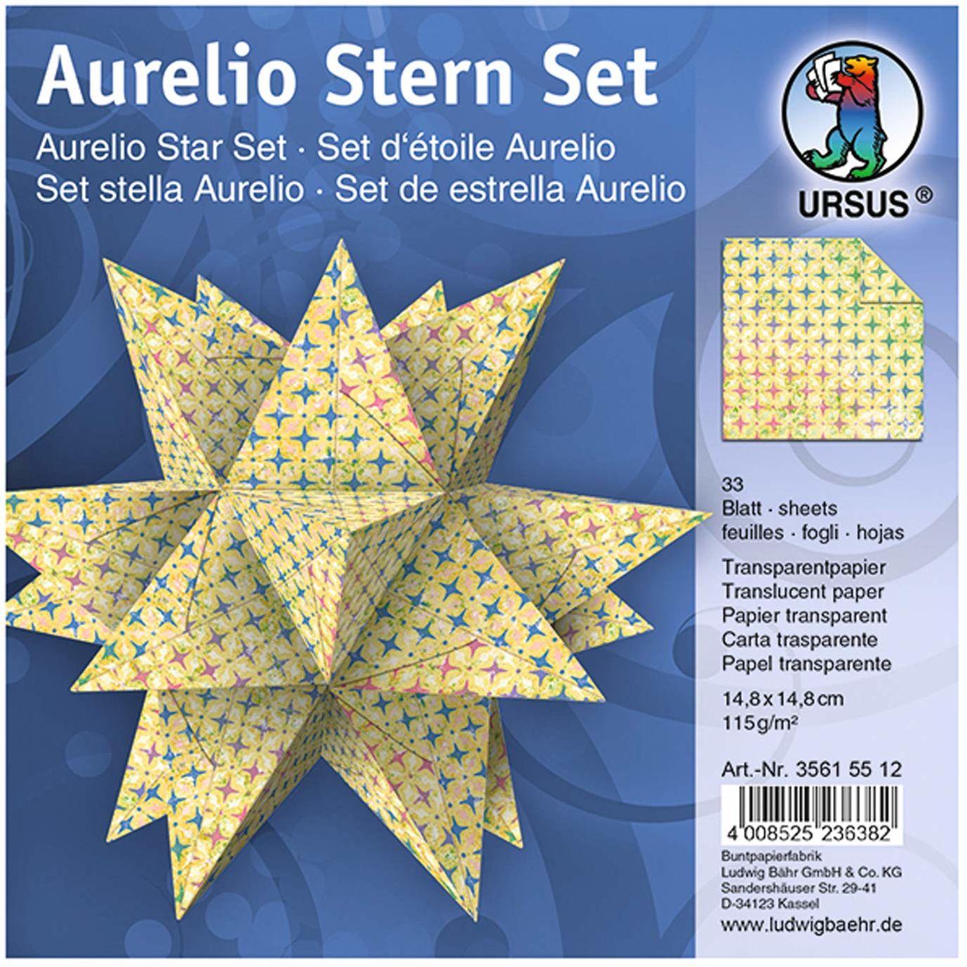 URSUS 35615512 - kartki składane Aurelio gwiazda Paradiso, 33 arkusze papieru przezroczystego po 14,8 x 14,8 cm, 115 g/m , zadrukowane jednostronnie, piękne papierowe gwiazdy na Boże Narodzenie, żółte