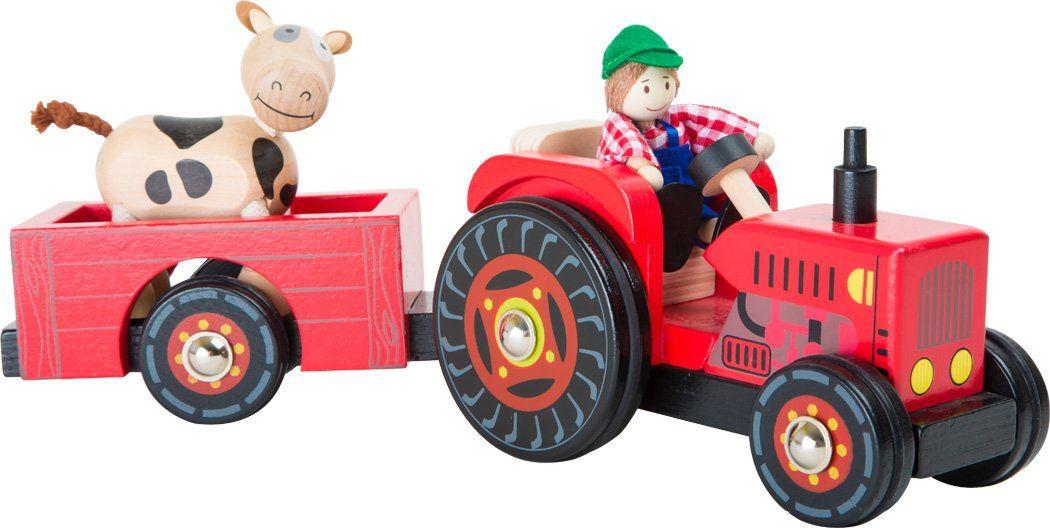 """small foot 10316 Drewniany traktor z przyczepą """"Farm"""", z rolnikiem i krowami oraz gumowymi kółkami, dla dzieci w wieku od 3 lat."""