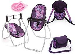 Bayer Design 63694AB, akcesoria dla lalek, wysokie krzesło dla lalek, kołyska dla lalek, nosidełko dla lalek, w zestawie torba na ramię i plastikowe akcesoria, śliwka