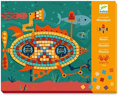 Djeco Caja de mosaicos Volante skrzynka z mozaiką Los Ases del kierownica (39421), kolorowa