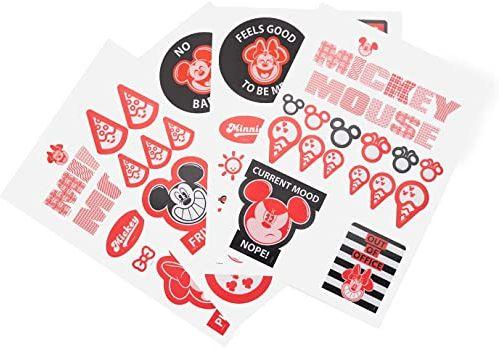 Grupo Erik Gadget Decals naklejka Disney Mickey i Minnie Mouse wodoodporna i wielokrotnego użytku naklejka GDGE011 10 x 5