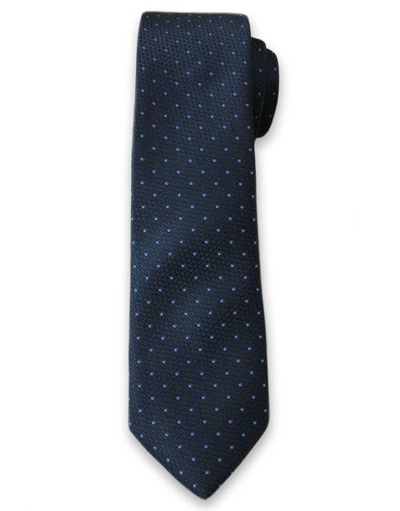 Elegancki Krawat Męski z Drobnym Wzorkiem - 6 cm - Alties, Granatowy KRALTS0111