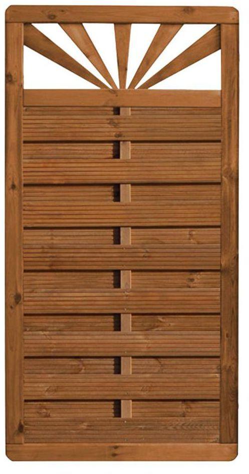 Płot szczelny z dekorem 90x180 cm drewniany SUNRISE WERTH-HOLZ