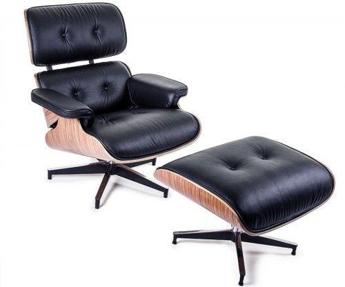 Fotel z podnóżkiem Czarna Skóra Naturalna Inspirowany Projektem Lounge Chair