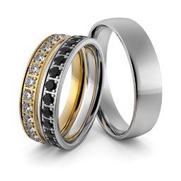 Obrączki ślubne dwukolorowe z białymi i czarnymi brylantami - zestaw obrączek - Au-956